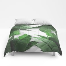 Tropical Palm Print Shadows Comforters