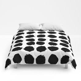 Florence - black and white minimal modern abstract home decor art india ink brushstroke boho trendy Comforters