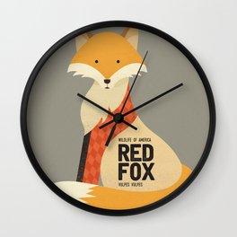 Hello Red Fox Wall Clock
