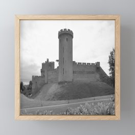 Black and white English Castle Framed Mini Art Print