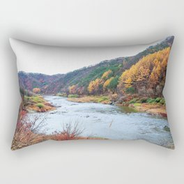 Scenic Fall Nature Lanscape with Stream and Hills Rectangular Pillow