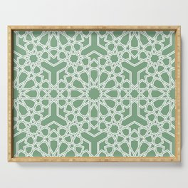 Elegant Islamic geometric lace pattern Sage Green Serving Tray
