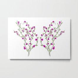 Butterfly Flower Vine Metal Print