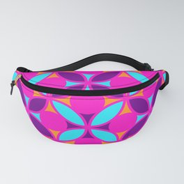 Geometric Floral Circles Vibrant Color Challenge In Bold Purple Pink Orange & Blue Fanny Pack