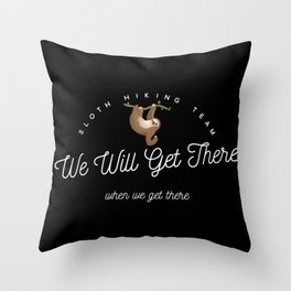 Sloth Hiking Team Throw Pillow