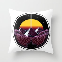Synthwave Space Pyramids Throw Pillow