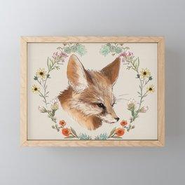 Fennec Fox in Desert Wreath Framed Mini Art Print
