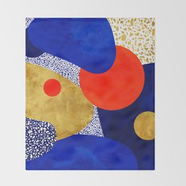 Terrazzo galaxy blue night yellow gold orange Throw Blanket