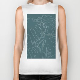 Monstera No2 Teal Biker Tank