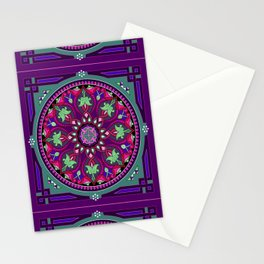 Boho Floral Crest Purple and Pink Stationery Cards