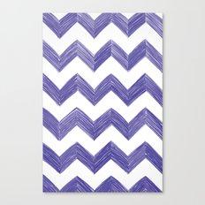 Classic Chevrons in Blue-Purple Canvas Print