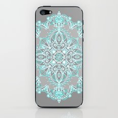 Teal and Aqua Lace Mandala on Grey iPhone & iPod Skin