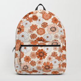 Monday Flowers - 70s retro floral, flowers, terracotta, rust, brown, earth tones, muted, happy  Backpack