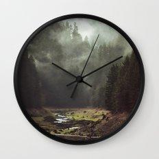 Foggy Forest Creek Wall Clock