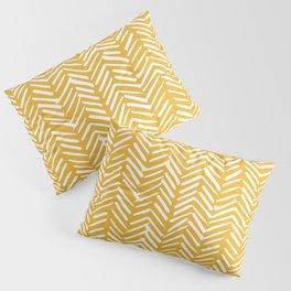 Boho Abstract Herringbone Pattern, Summer Yellow Pillow Sham