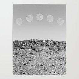 Desert Moon Ridge B&W // Summer Lunar Landscape Teal Sky Red Rock Canyon Rock Climbing Photography Poster