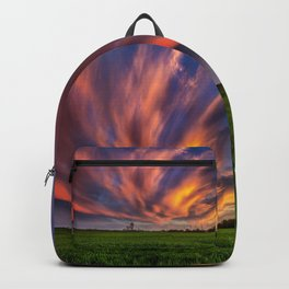 Natural Beauty - Sunlight Illuminates Clouds on Spring Evening in Oklahoma Backpack