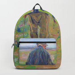 Max Liebermann - Farmer with cow - Digital Remastered Edition Backpack