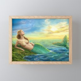 Beautiful princess- fantasy mermaid at sunset background Framed Mini Art Print