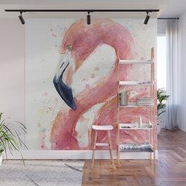Pink Flamingo Watercolor Wall Mural