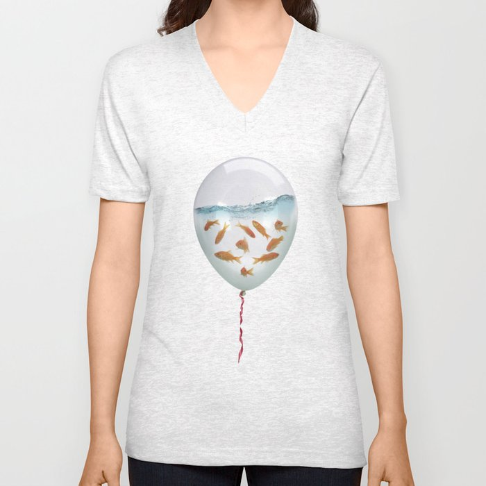 balloon fish 03 Unisex V-Neck