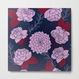 Floral Patten in Navy, Light Orchid, and Burgundy Metal Print