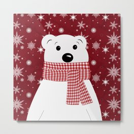 Christmas polar bear. Metal Print
