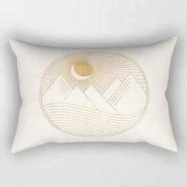 Golden Sunset Landscape with Mountains Rectangular Pillow