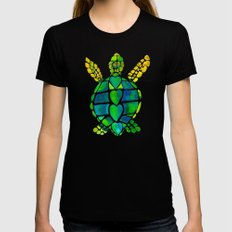 Turtle Love LARGE Black Womens Fitted Tee