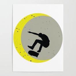 Skateboard Kick Flip OnThe Moon Silhouet Skateboarder Poster