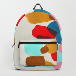 Fun Colorful Bright Abstract Shapes Mid Century Modern Patterns Blue Teal Red Pink Yellow Ochre Backpack