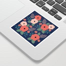 Flower Pattern, Pink Red Flowers on Blue, Vintage, Floral Sticker