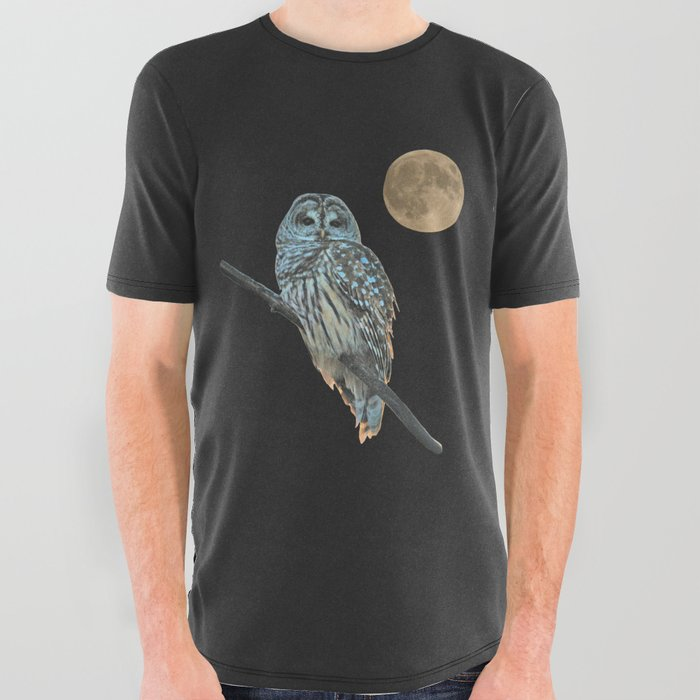 Owl, See the Moon (sq Barred Owl) All Over Graphic Tee