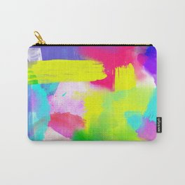 Neon Emotion | Abstract Stripes Neon Artistic Watercolor Pattern Carry-All Pouch