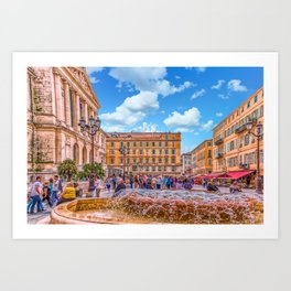 People in Nice Plaza with Fountain Art Print