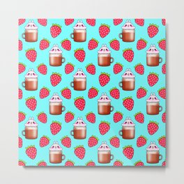 Cute little happy funny pink little baby bunnies sitting in cappuccino coffee cups, yummy red ripe sweet summer strawberries pretty pastel blue fruity pattern design. Metal Print
