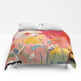 blooming abstract pink Comforters
