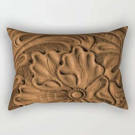 Golden Tanned Tooled Leather Rectangular Pillow