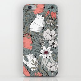 Seamless pattern design with hand drawn flowers and floral elements iPhone Skin