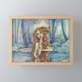 Winter fox Framed Mini Art Print
