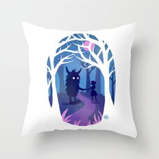 Making Friends with Monsters Throw Pillow