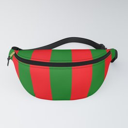 Wide Red and Green Christmas Cabana Stripes Fanny Pack