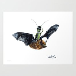 """ Rider in the Night "" happy cricket rides his pet bat Art Print"