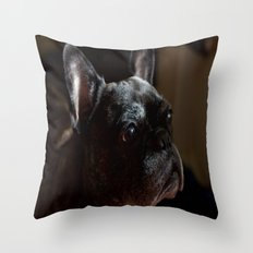 Frenchie Contemplating Life Throw Pillow