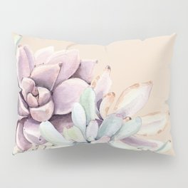 Trendy Apricot + Mint Succulents Pillow Sham