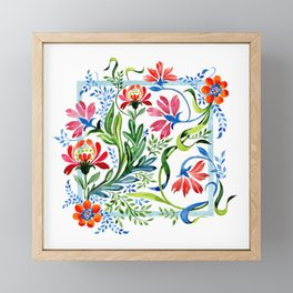 Watercolor Garden Folk Floral In Vintage Style Framed Mini Art Print