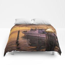 Fishing Boat and Gulls at Sunrise in Aransas Pass Harbor Comforters