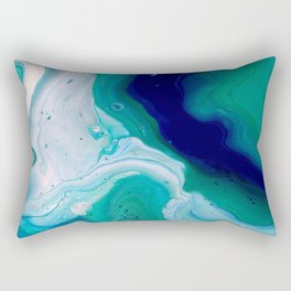 Abstract Mable Colorful Blue Turquoise Fluid Acrylic Painting Design Rectangular Pillow