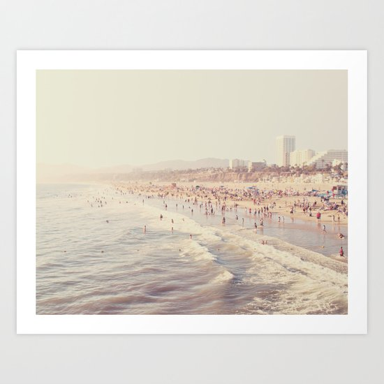 Sunny California. Santa Monica beach photograph Art Print