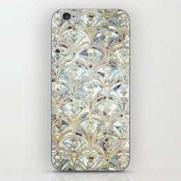Pale Bright Mint and Sage Art Deco Marbling iPhone Skin